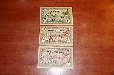 Lot Of Three 1943 Tunisia (2) 50 Centimes & 1 Franc Notes - P.54, P.55 Wwii