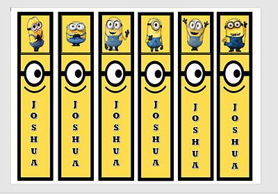 Minions Personalised Childrens Bookmarks Laminated X 6