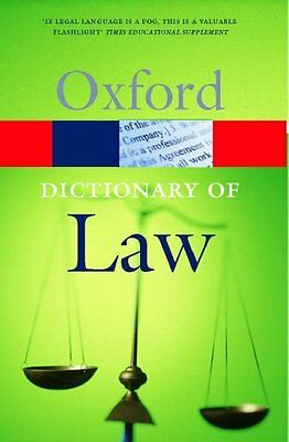 A Dictionary of Law (Oxford Paperback Reference) By Elizabeth A .9780192806987