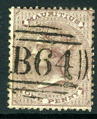 SEYCHELLES/MAURITUS-1860-63 1d Purple Brown fine  used in Seychelles Sg Z5