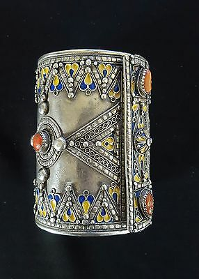 Morocco - AMAZIGH Berber Bracelet in silver with enamels and coral