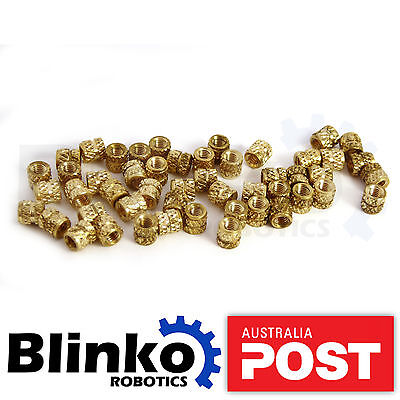 50x M3 Brass Threaded Insert for 3D Printing Blinko Knurl Round Hot Nuts Printer