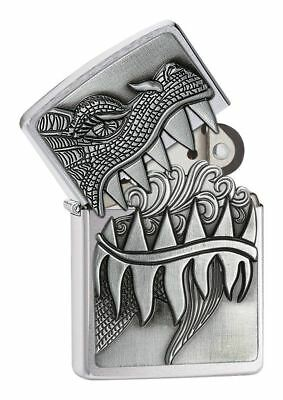 Zippo Windproof Refillable Fire Breathing Dragon Petrol Lighter - Brushed Chrome