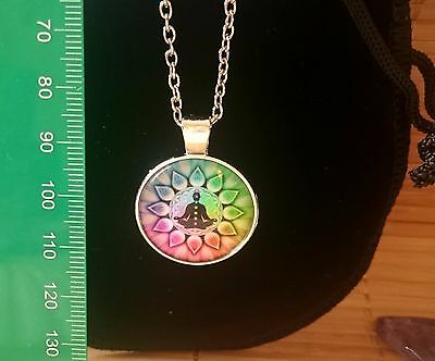 Flower of Life Lotus Yoga Rainbow Buddhsa Chakra Pendant  Silver Necklace Pouch