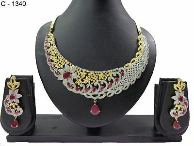 Indian Ethnic Fashion Jewelry Designer Necklace Set CZ Gold Silver Plated Set