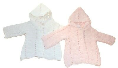 Baby Girls Long Line Traditional Matinee Cardigan Pink White by Just Too Cute