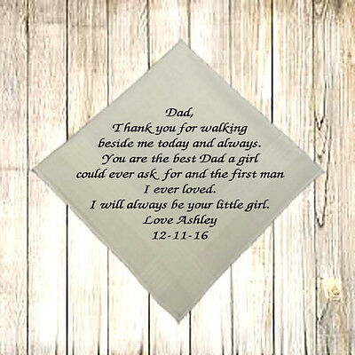 New - Personalised Men Handkerchief Hankie Wedding Gift Dad First Man I Loved