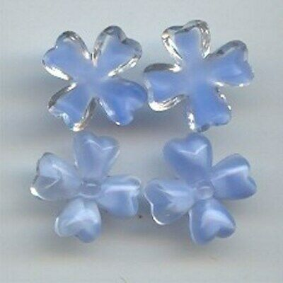 12 VINTAGE GLASS BLUE MOONSTONE 15mm. FLOWER CLOVER PLAQUE CAMEOS   6943
