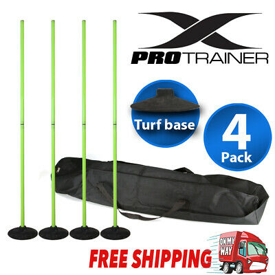 Agility Slalom Training Poles With Turf Base 2 Section Fluorescent Green 4 Pack