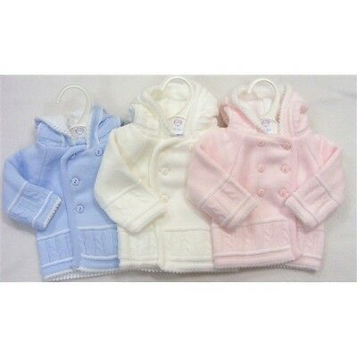 Baby Traditional Romany Double Breasted Knitted Pram Coat Cardigan