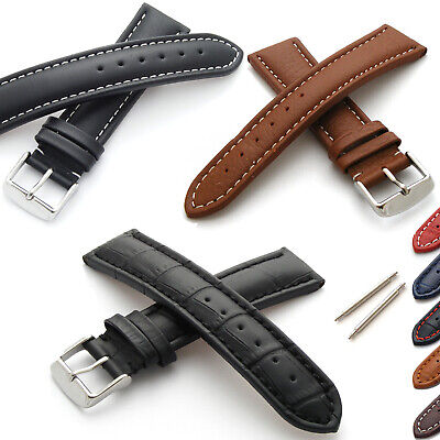 Genuine Leather Watch Strap Smooth/Grained/Alligator (M or XL) with Buckle