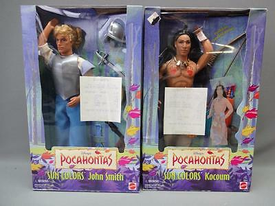 Disney's Pocahontas Dolls Sun Colors Kocoum and John Smith Mint in Boxes 1996