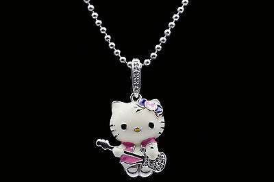 a4ba7dbbb Kimora Lee Simmons Hello Kitty Rockstar Kitty Necklace in 925 Sterling  Silver