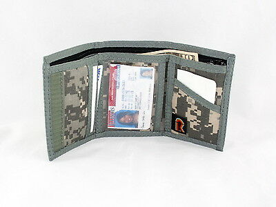 Mens Trifold ID Wallet with Outside & Inside ID. Hook & Loop Closure. ACU. USA