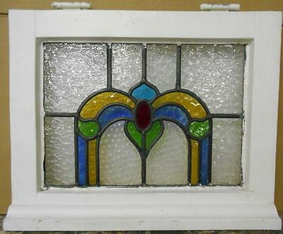 "OLD ENGLISH LEADED STAINED GLASS WINDOW Stunning Arch Design 18.25"" x 15"""