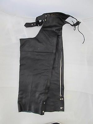 Womans Genuine Leather Motorcycle Chaps, Black, Sz XL