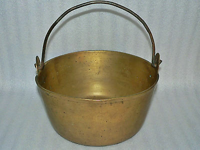 Antique Solid Brass Hearth Kettle Cooking Pot Pail Bucket Cast Iron Handle