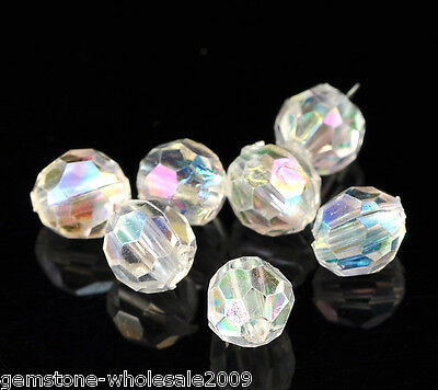 500PCS Lots Clear AB Color Faceted Acrylic Crystal Spacer Beads 6mmx6mm Dia 50