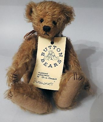 """Collector Button bear,  by Sue Cooper """"Stuart"""" 8"""" mohair 1 of 3 Limited Ed. LE"""