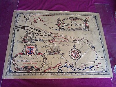 "Rare -1970's-Vintage ""the West Indies,"" Royal Caribbean Cruise Line Map"