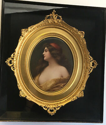 Antique Painting of a Woman Porcelain KPM Plaque Gilt Frame in Display Box