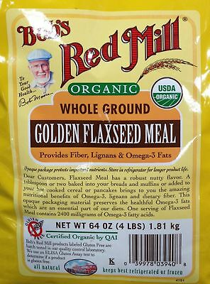 64oz Organic Whole Ground Golden Flaxseed Meal Bob's Red Mill (4 Pounds Total...