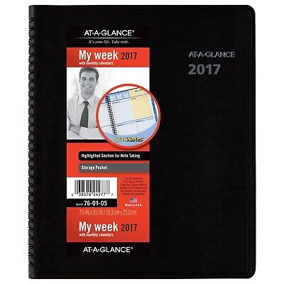 AT-A-GLANCE Weekly / Monthly Appointment Book / Planner 2017 QuickNotes 7... New