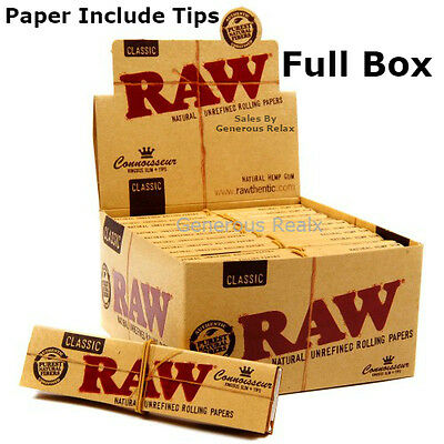 24 Raw Connoisseur King Size Slim Rolling Papers With Filter Tips (Full Box)
