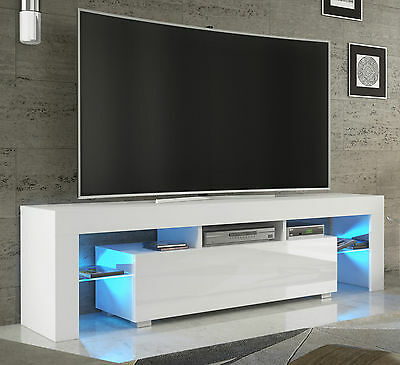 tv 2rack fernsehschrank lowboard sideboard hochglanz weiss schwarz mit led130 eur 125 00. Black Bedroom Furniture Sets. Home Design Ideas
