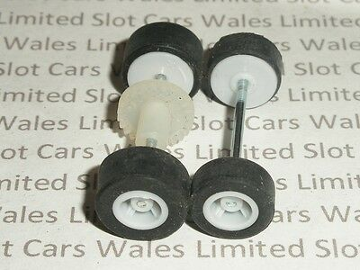 MICRO Scalextric - Front & Rear Axles / Tyres with Grey Wheels & White Gear