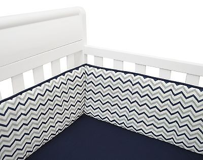 American Baby Company Cotton Percale Crib Bumper Navy Zigzag New