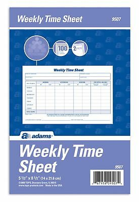 Adams Weekly Time Sheet 1-Part 5.5 x 8.5 Inches Blue/White 100 Sheets Per Pad...