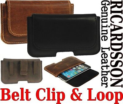 Belt Clip & Loop Holster Ricardsson Genuine Leather Pouch Case Cover For Phone