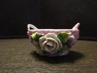 Decorative Pottery - Porcelain  Basket with Raised Flowers - Made in Germany
