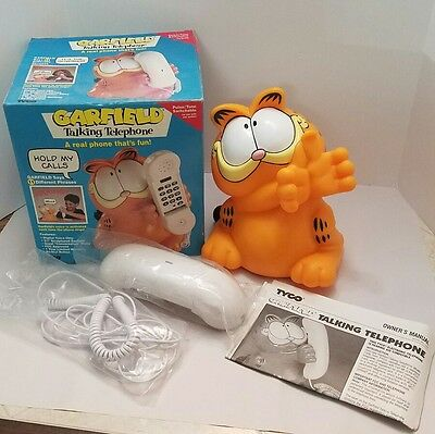 Tyco Garfield Talking Telephone Excellent Condition W/Box & Manual Model 1208