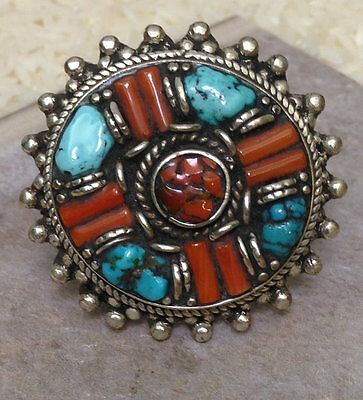 Tibetan Turquoise Coral Silver Round Pointed Ring Size 9