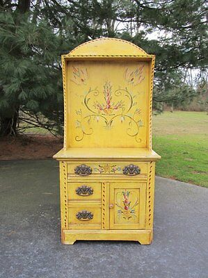 Antique Primitive Country Painted Pennsylvania Dutch Wood Wash Stand Cabinet