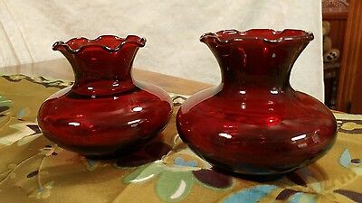 2 Beautiful Vintage Ruby Red Depression Glass Ruffled Vases