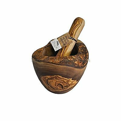 Naturally Med Olive Wood Rustic Mortar and Pestle
