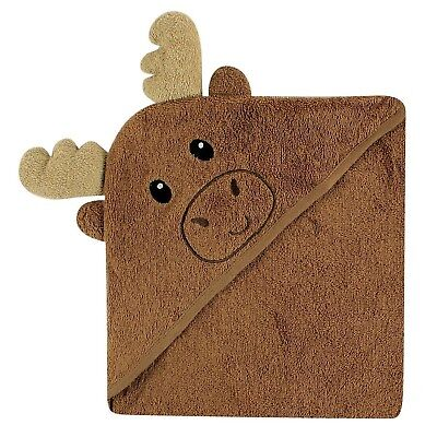 Luvable Friends Animal Face Hooded Towel Moose New