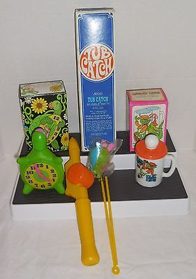 AVON 1970's TIC TAC TURTLE, GAYLORD GATOR, TUB CATCH Lot of 3 BATH TOYS in BOX