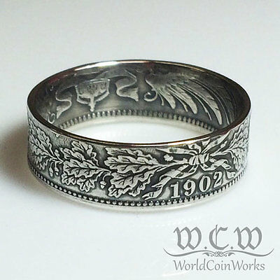 German 1 Mark Coin Ring - 90% Silver - Germany - Handmade
