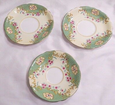 Vintage Lot Of 3 Aynsley 7194 China England Plates 1 Saucer 2 Side/bread Plates
