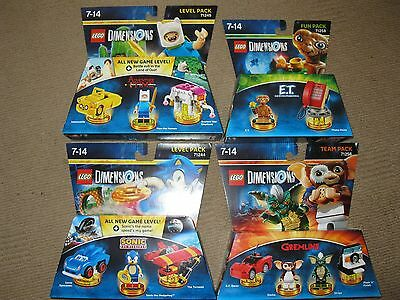 Lego Dimensions 4 brand new sealed packs, Sonic, Adventure Time, Gremlins & E.T.