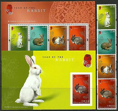 Hong Kong 2011 Year of the Rabbit set of 4 + 2 M/S MNH