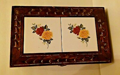 Vintage Mexican 2-Tile Carved Wood Jewelry Trinket Box Red & Yellow Roses
