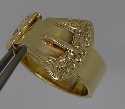 *heavy Antique Mens 9Ct Solid Gold Buckle Ring Uk Size U 1/2 C1906*