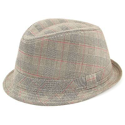 Tweed Trilby Hat Unisex Hawkins Fedora Rolled Brim Cap Short Brim GREY BROWN 833dc875c415