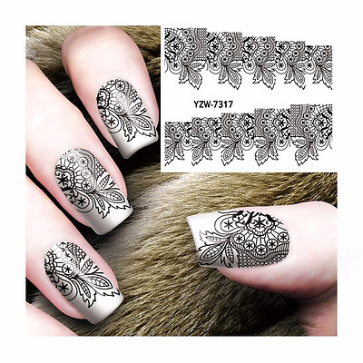 Nail Art Water Decals Stickers Transfers Stamping Black Lace Flowers (YZW7317)
