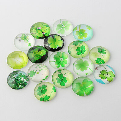10 Four Leaf Clover Mixed Round Glass Cabochons Flat Back Jewellery 12mm (060)